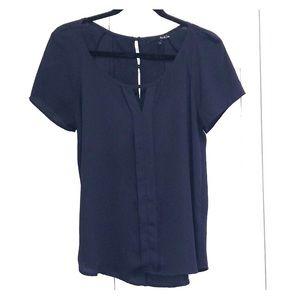 Ro & De V neck navy blue blouse